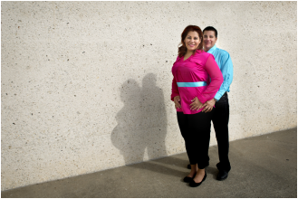 Couple with pregnant shadow
